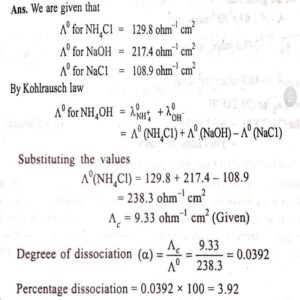 Class 12 Electrochemistry Numerical Questions on Kohlrausch's Law