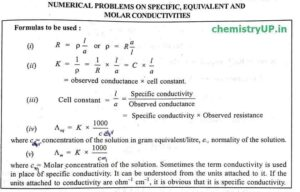 Electrochemistry Numerical Questions on Conductance of Electrolyte Solution