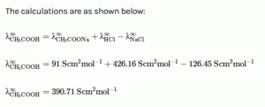calculate molar conductivity at infinite dilution of CH3COOH Acetic acide
