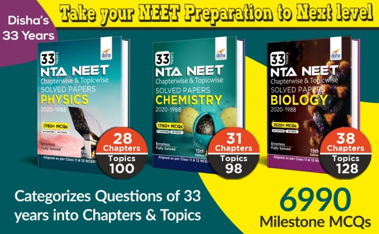 Disha 33 Years NEET Chapterwise and Topicwise Solved Papers CHEMISTRY (2020 - 1988) Download Now