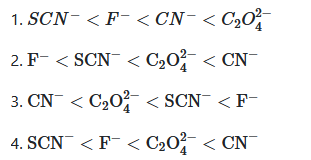 Which of the following is the correct order of increasing field strength of ligands to form coordination compounds