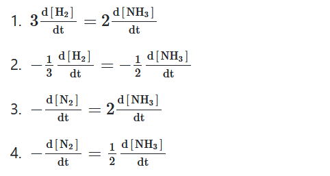 For the chemical reaction N2(g)+3H2(g) ⇌ 2NH3(g) the correct option is