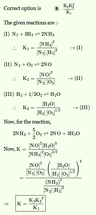 NEET 2017  The equilibrium constant of the following are The equilibrium constants of the following are