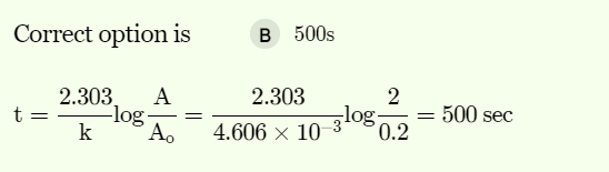 The rate constant for a first order reaction is