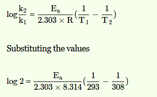 NEET 2013:  What is the activation energy for a reaction if its rate doubles when the temperature is raised from 20°C to 35°C?  (R=8.314 J mol-1 K-1) 1. 342 kJ mol-1 2. 269 kJ mol-1 3. 34.7 kJ mol-1 4. 15.1 kJ mol-1  Answer: Solutions- Correct option is (3): 34.7 kJ mol-1 Given, initial temperature, T1 = 20+273= 293 K Final temperature T2 = 35+273 = 308 K R: 8.314 J mol-l K-1 Since, rate becomes double on raising temperature, therefore, r2 =2r1 or r2/r1 = 2 As rate constant, k a r From Arrnhenius equation,we know that  Ea=34.7 kJ mol−1